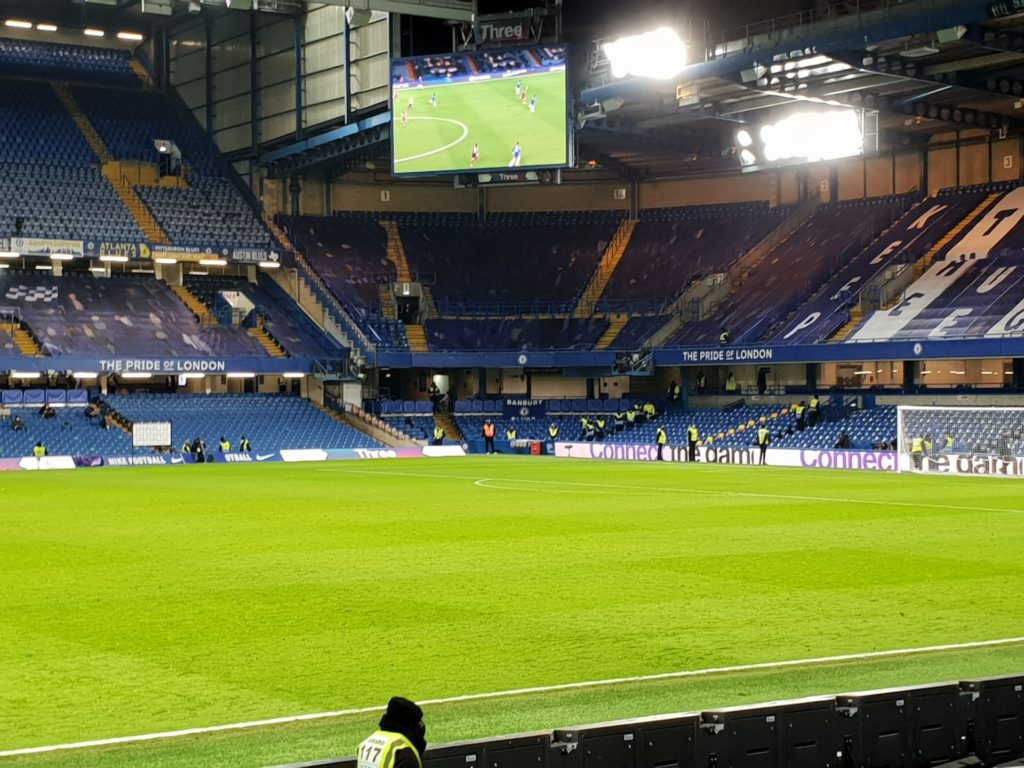 Stamford Bridge with scoreboard in view looking towards Shed End from Chelsea v Leeds 5th December