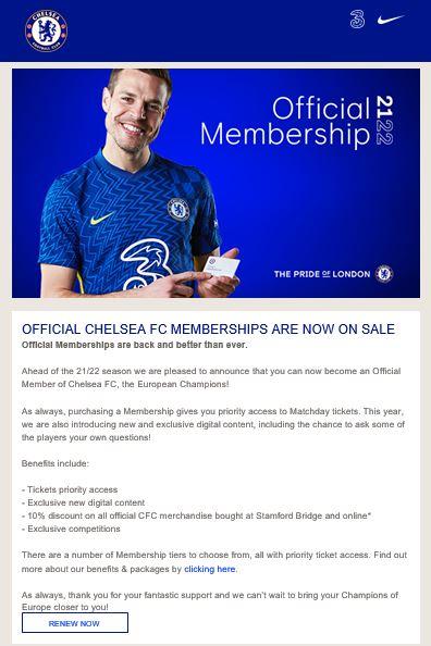 Chelsea membership 2021/2022